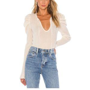 White puff sleeve sweater top